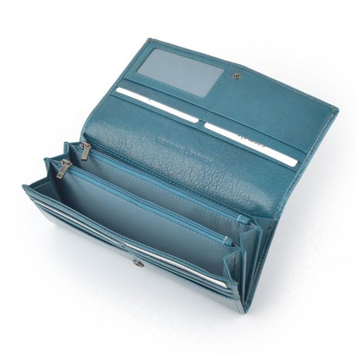 Kožená lakovaná peněženka akvamarínová – 2109 F AQM