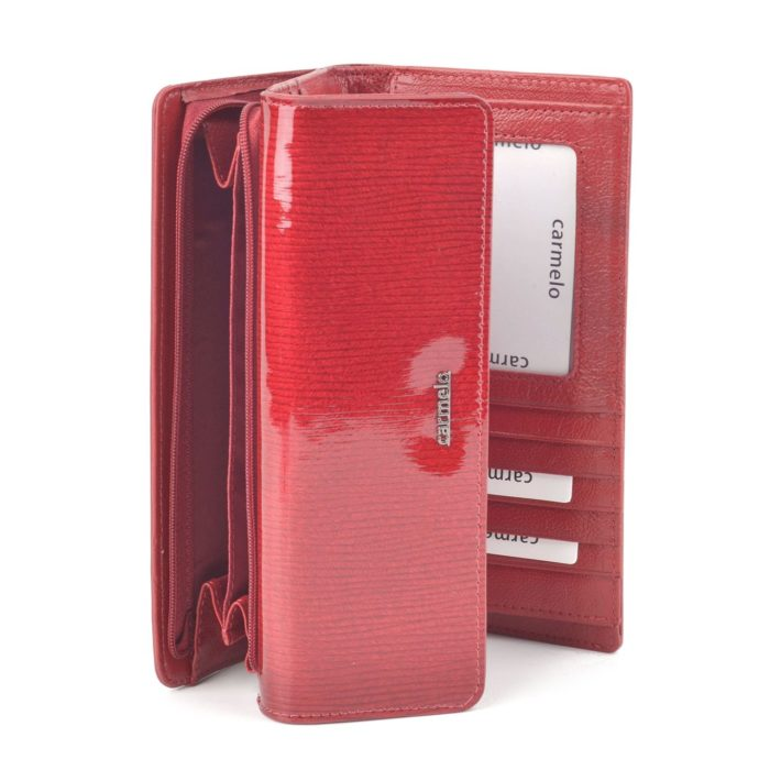Kožená lakovaná peněženka bordó – 2103 F BO