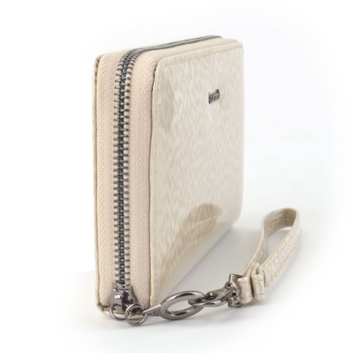 Kožená lakovaná peněženka krémová – 2102 H K