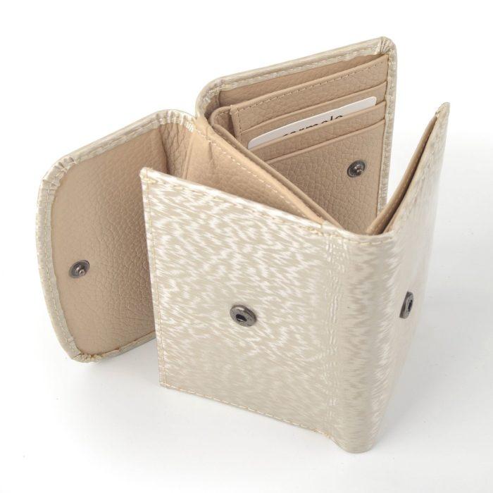 Kožená lakovaná peněženka krémová – 2106 H K