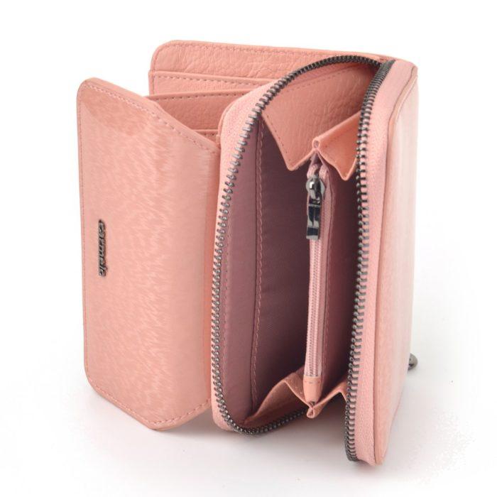 Kožená lakovaná peněženka růžová – 2104 H R